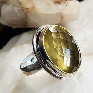 #GIFT Silver Ring Raw Citrine Natural Stone